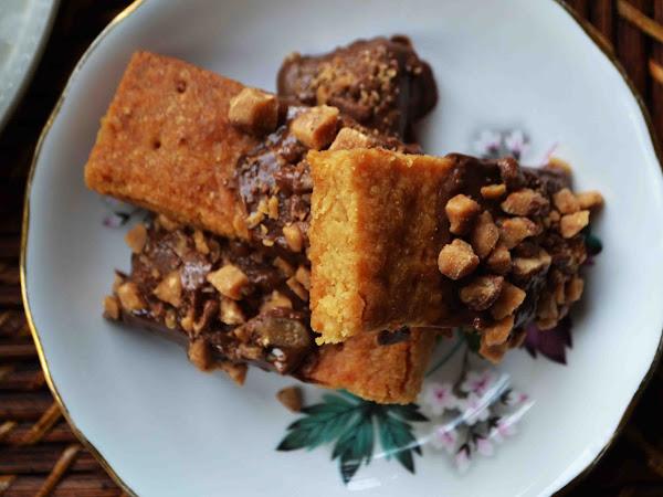 Brown Sugar Shortbread Cookies Dipped in Milk Chocolate