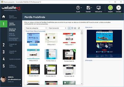 WebSite X5 ofrece un gran catálogo de plantillas