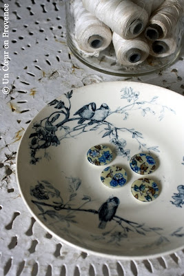 Old plate decorated with birds
