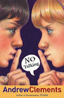 two kids shushing each other on the cover of No Talking by Andrew Clements