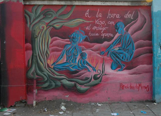street art and graffiti on the street of exposicion, santiago de chile