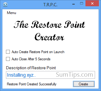 Windows System Restore Point Creator