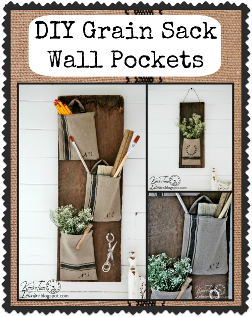 http://knickoftimeinteriors.blogspot.com/2014/02/grain-sack-wall-pockets-on-barn-wood.html