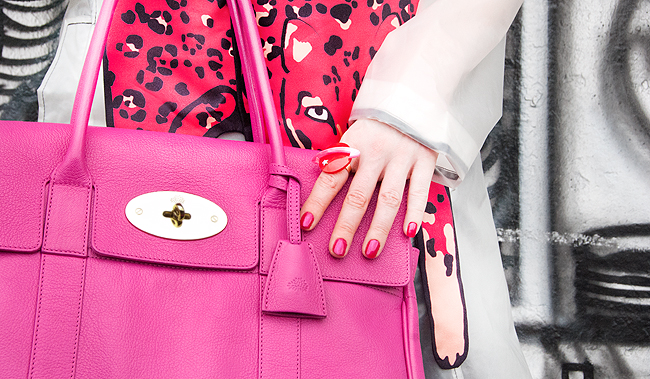 pink leopard scarf, british labels, mulberry bayswater