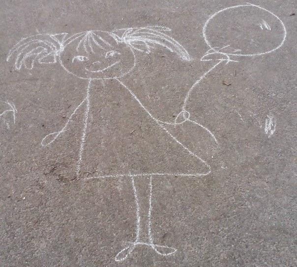 Девочка, нарисованная на асфальте. Киев, 2015. Автор неизвестен.