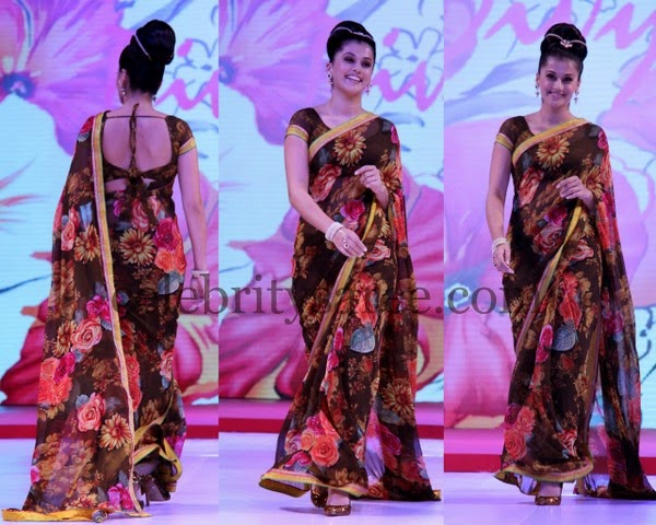 Tapsee Floral Theme Saree