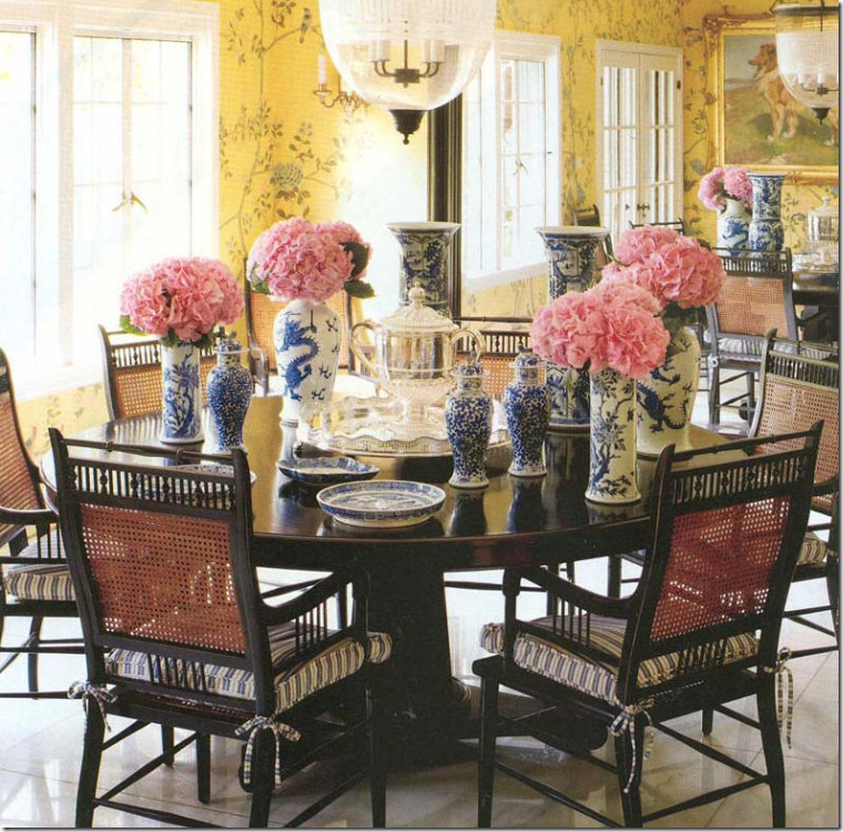 Chinoiserie chic yellow and blue chinoiserie - Yellow and blue dining room ...