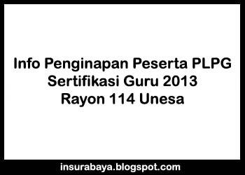 Info Penginapan Peserta PLPG 2013 Rayon 114 Unesa Surabaya, plpg rayon 114, sergur rayon 114 unesa, sertifikasi guru 2013 rayon 114 unesa