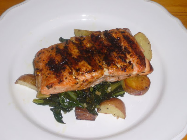 Grilled Salmon with Potato-Kale Hash