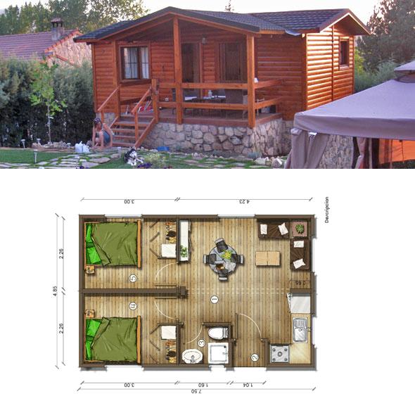 Casas de madera en espa a planos casa de madera 36 m2 - Planos casa de madera ...