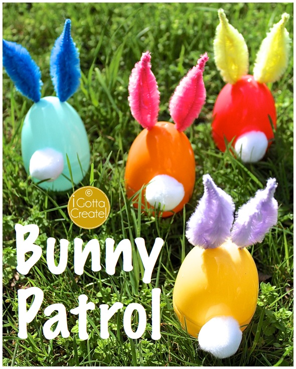 Bunny Patrol! Tutorial for turning plastic eggs to chenille ear bunnies at I Gotta Create!
