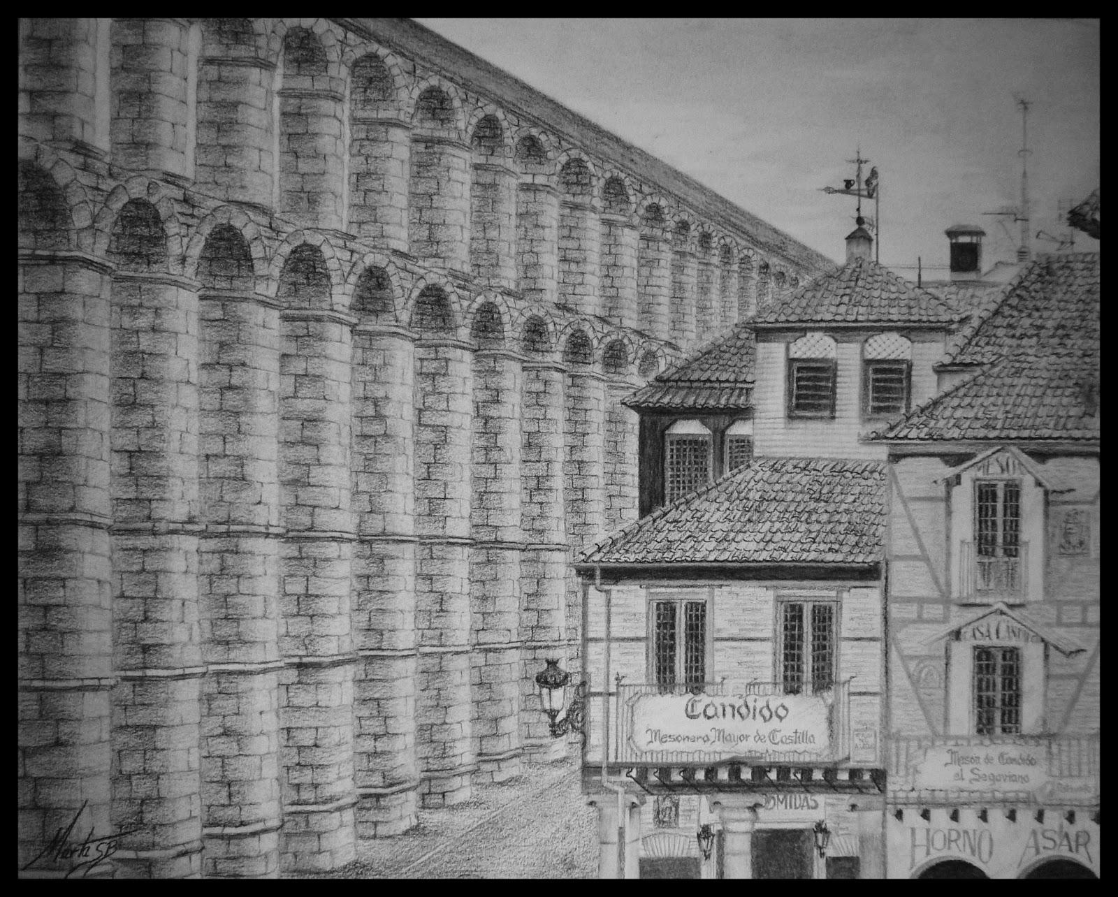 Acueducto de Segovia es cuando pintado a carboncillo por MartaSb
