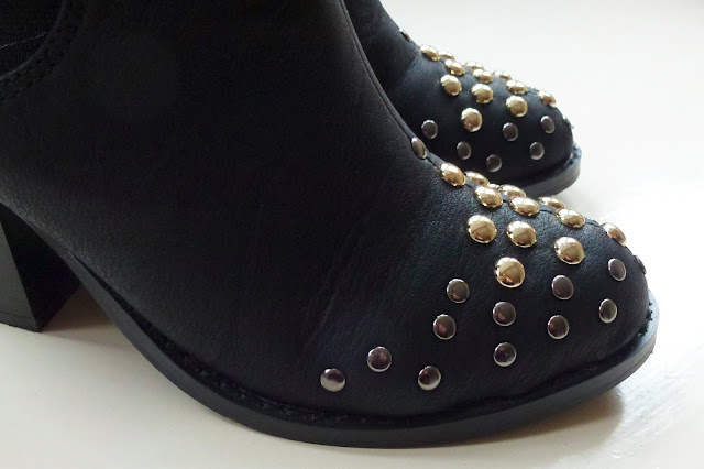 Glamorous Black PU Studded Toe Boots