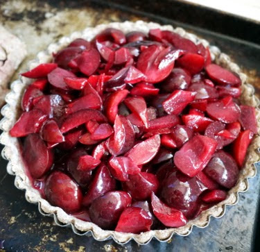plum tart with coconut oil crust