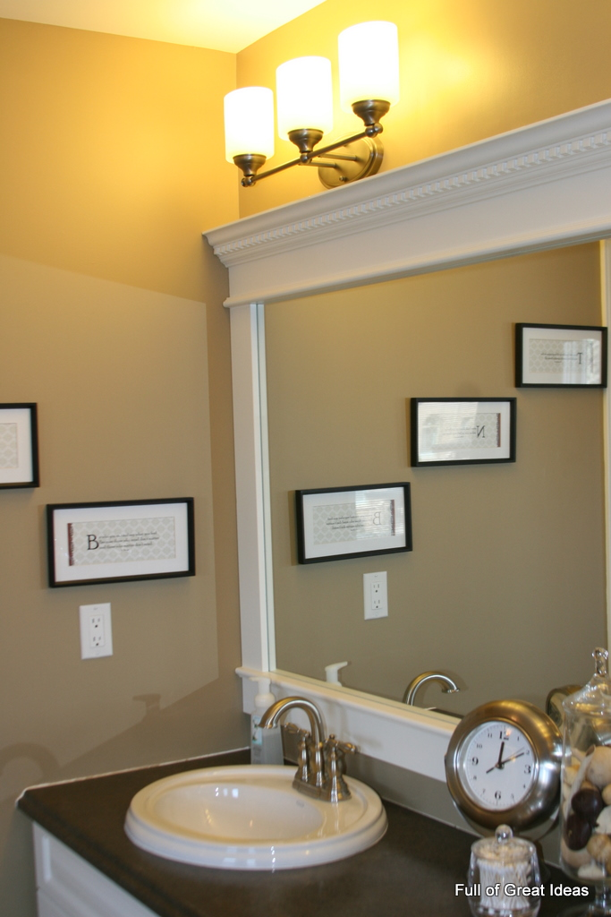 Full of Great Ideas: How to Upgrade your Builder Grade Mirror  Frame it! - Bathroom Trim Ideas