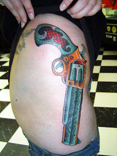 Gun Hip Tattoo Design Photo Gallery - Gun Hip Tattoo Ideas