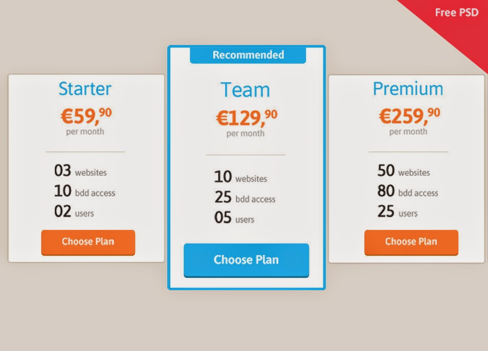 Pricing Table Free PSD