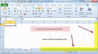Mostrar barras de desplazamiento horizontal y vertical.