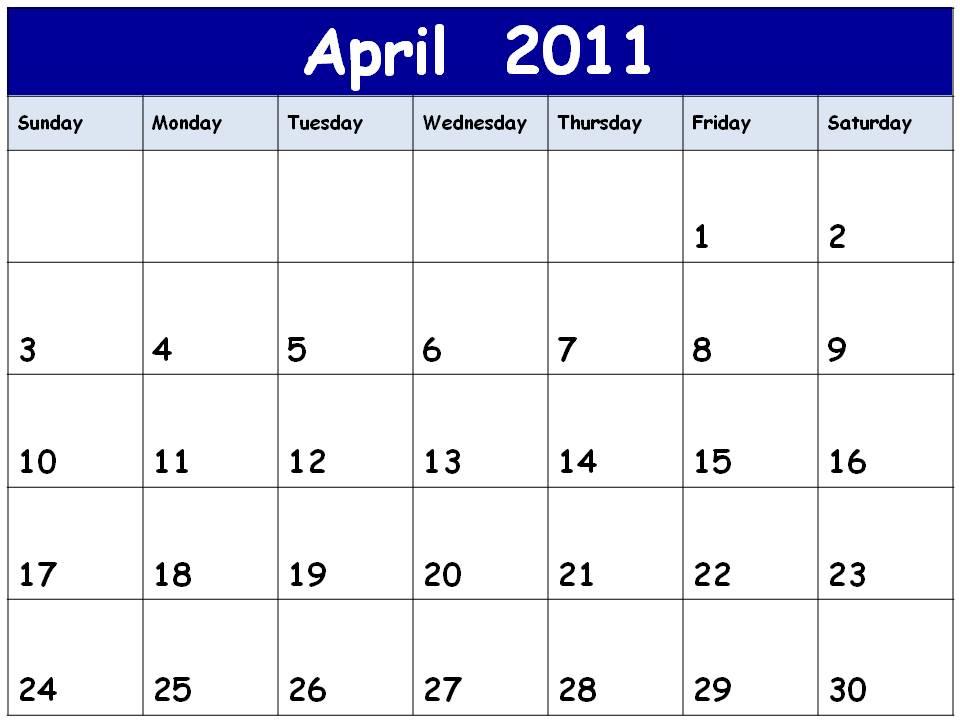 2011 calendar printable april. 2011 CALENDAR PRINTABLE APRIL