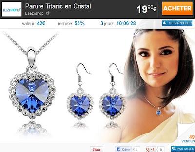 Parure Titanic en Cristal à 19.90€ au lieu de 42€ bon plan bijoux bihoux titanic bijoux coeur d'ocean cadeau fête des meres