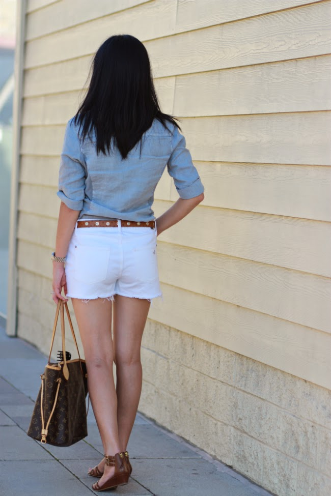 denim cutoff destroyed white shorts