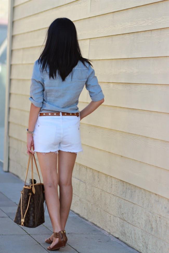 denim cutoff destroyed white shorts
