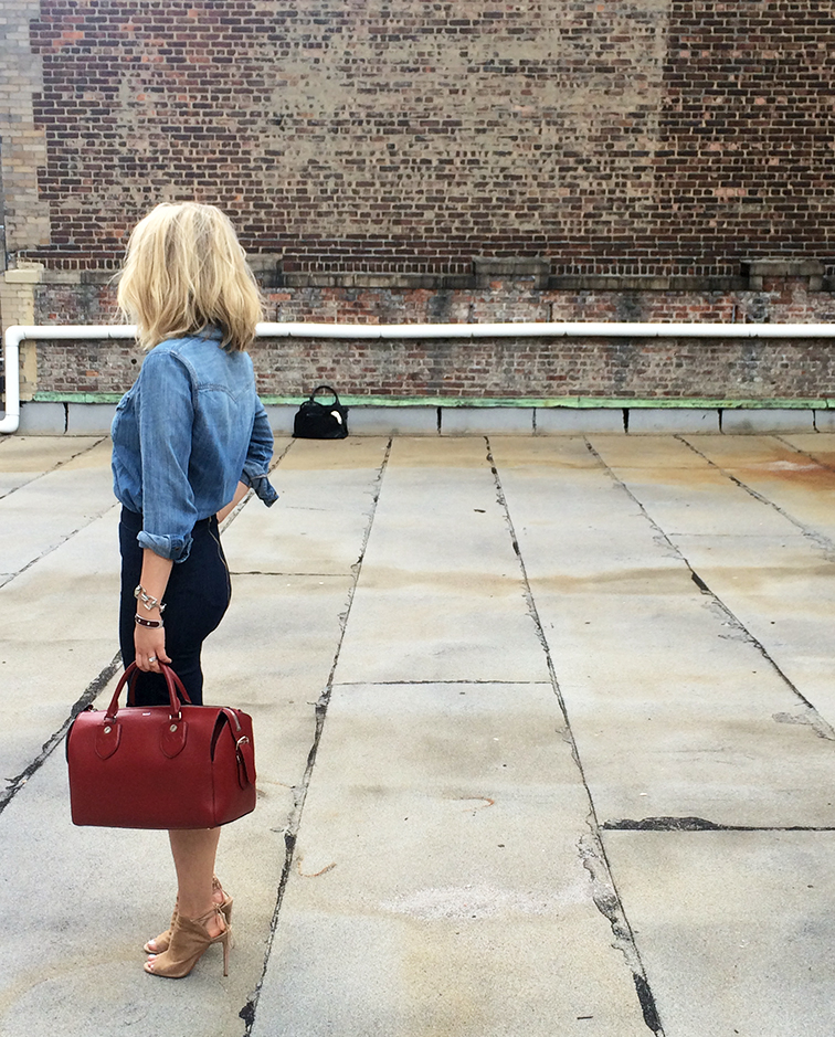 Madewell chambray shirt, MiH denim pencil skirt, Bally Switzerland red leather doctor bag, Aquazzura tan heels, Fashion Over Reason x Keaton Row, Along the Row, backstage access