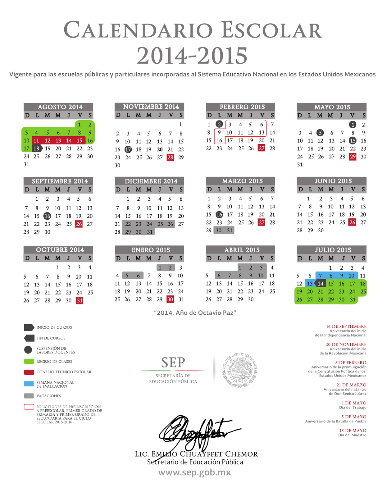 SEP: http://www.sep.gob.mx/es/sep1/Calendario_2014_2015 y http://goo ...