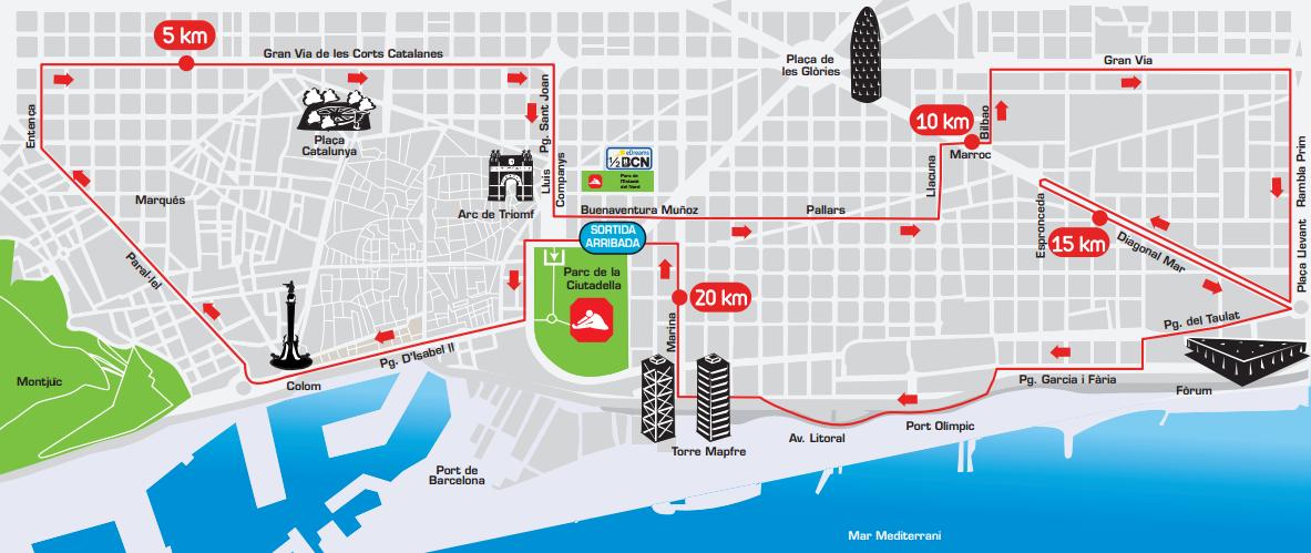 Recorrido de la 25ª eDreams Mitja Marató de Barcelona. [Imagen: www.edreamsmitjabarcelona.com]