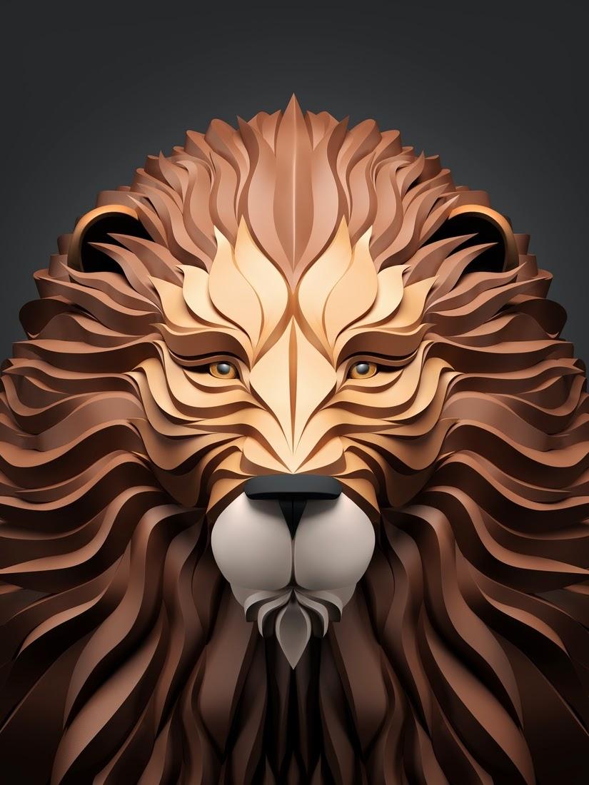 14-Lion-Maxim-Shkret-Digital-Origami-Animal-Art-www-designstack-co