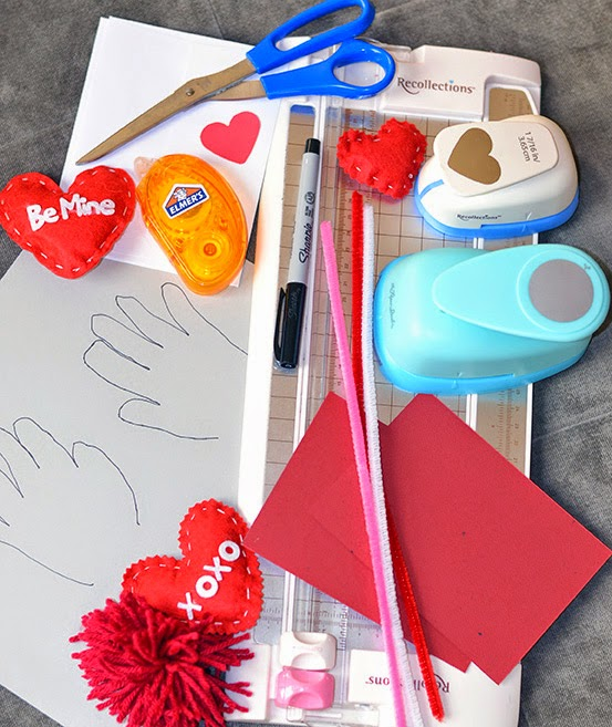 supplies for DIY Handprint Valentine Card -Cordier Events