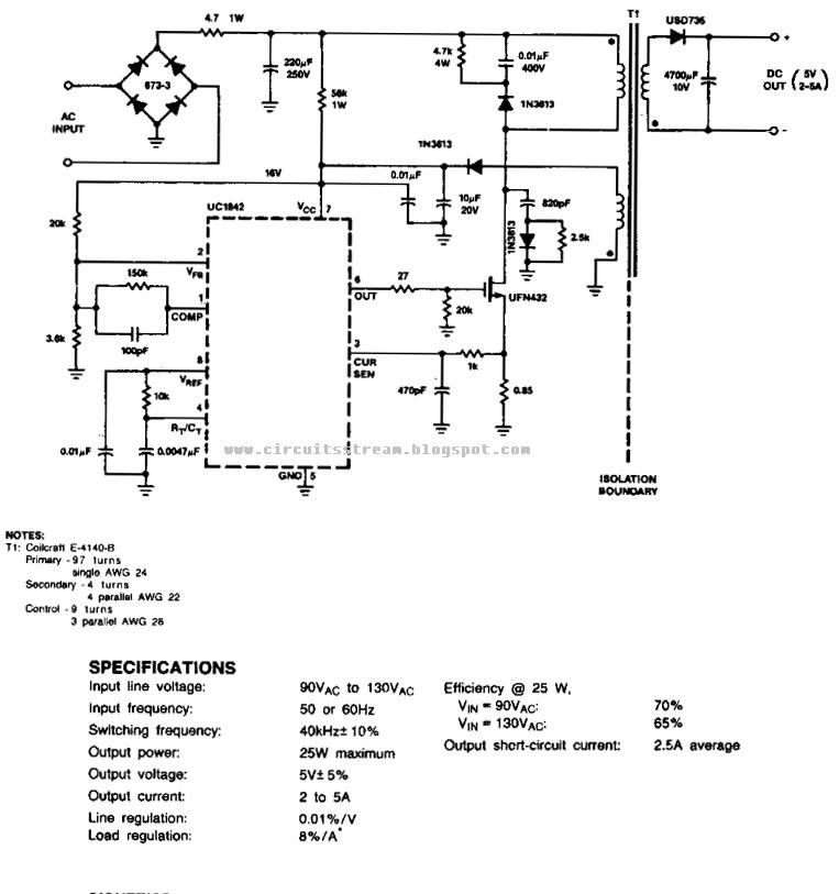 off line fly back regulator circuit diagram