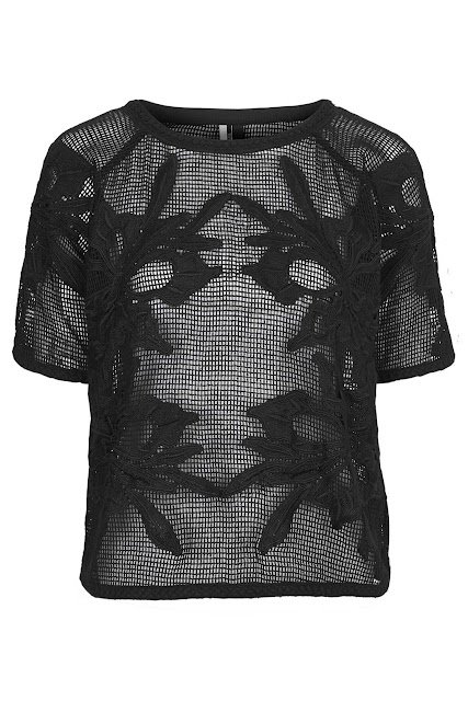 black mesh top, black appliqué top, black sheer top