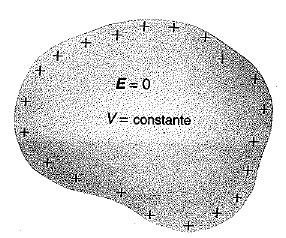 En un conductor, las cargas se acumulan en su superficie y el campo en su interior es cero.