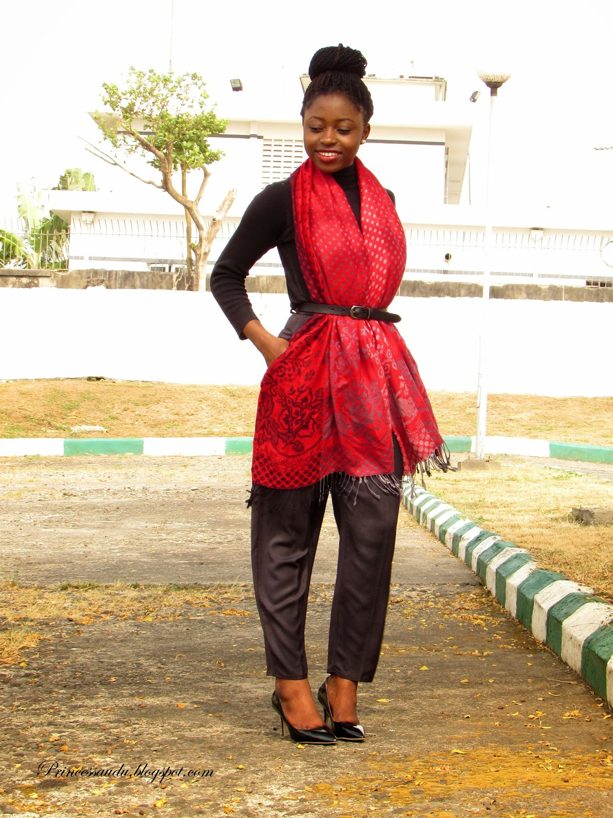 The Belted scarf, turtle neck top, high-waist pants, black pumps, court shoes, 2015 trend