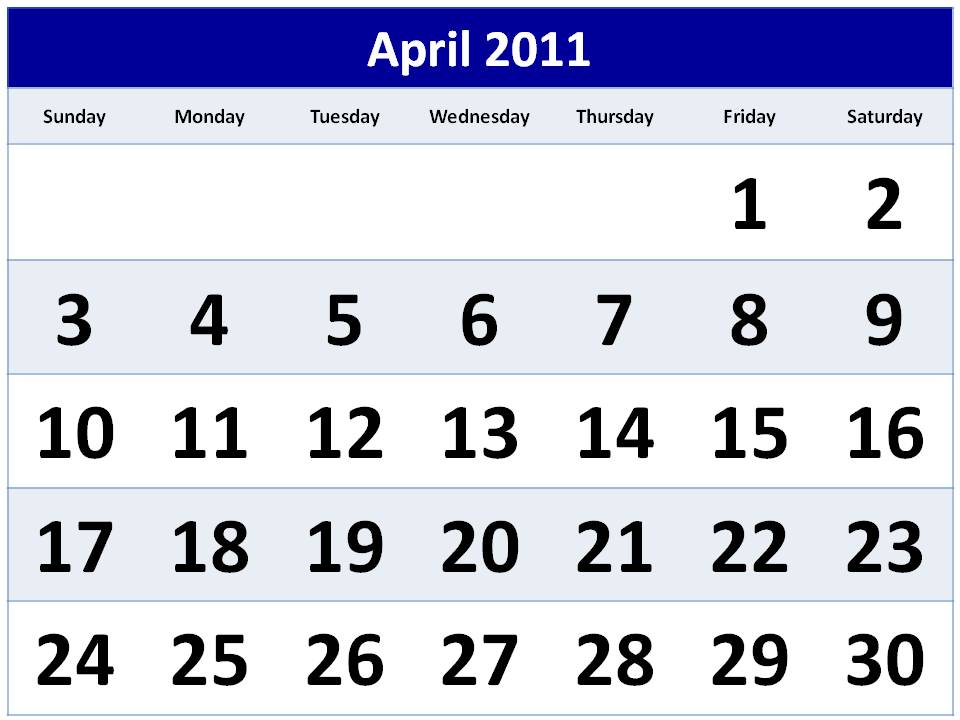calendar april 2011 template. Printable Calendar April 2011