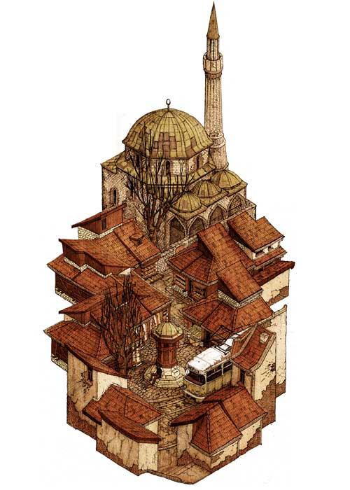 01-Baščaršija-Evan-Wakelin-Architectural-Drawings-in-Isometric-Projection-www-designstack-co