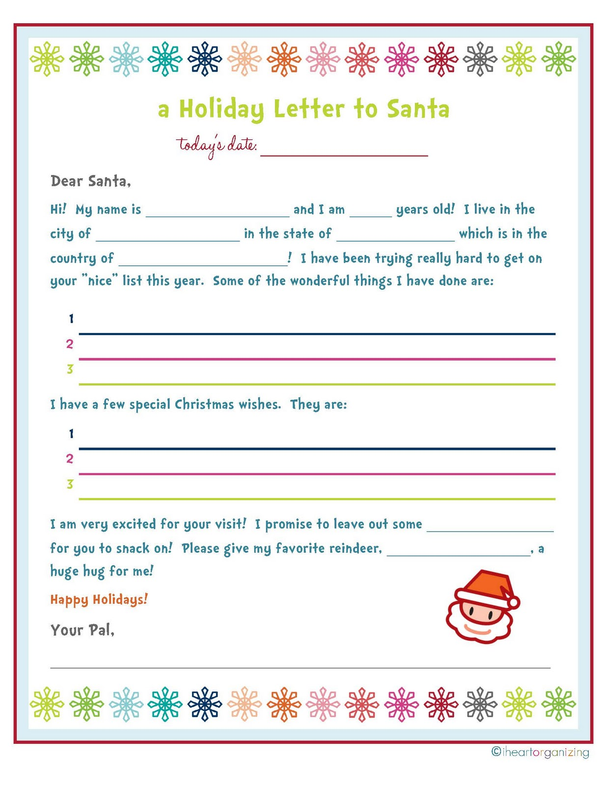 ... Printable Christmas Grocery List, Santa Christmas Wish List Printable