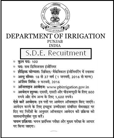 Punjab Irrigation Department 100 Sub Divisional Engineer-SDE Recruitment 2016