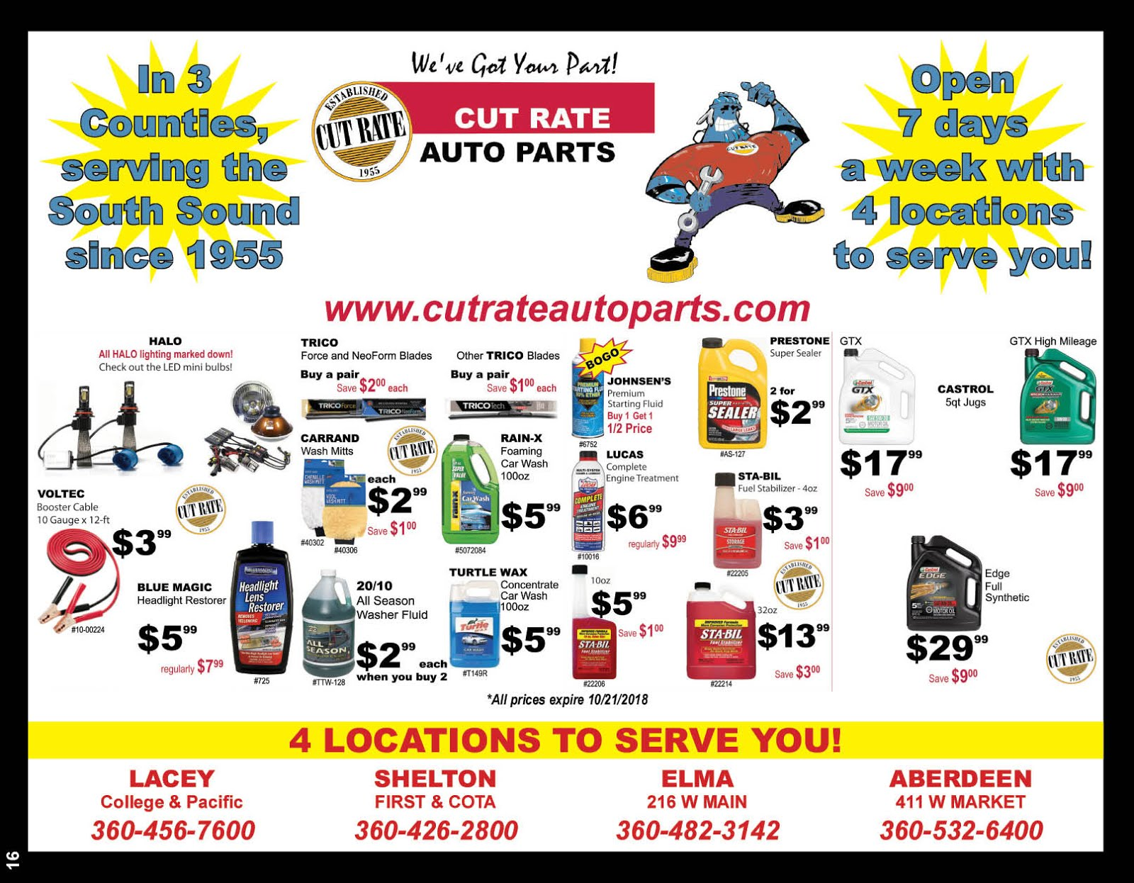Cut Rate Auto Parts 63rd Anniversary sale Going On Now!!