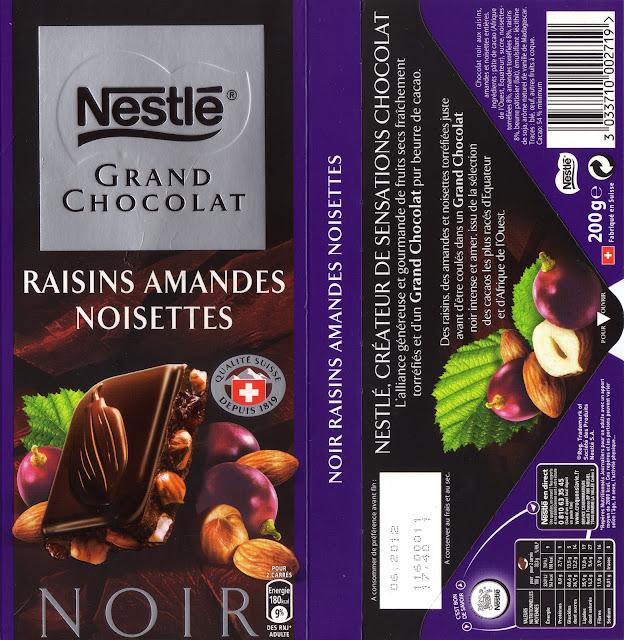 tablette de chocolat noir gourmand nestlé grand chocolat raisins amandes noisettes
