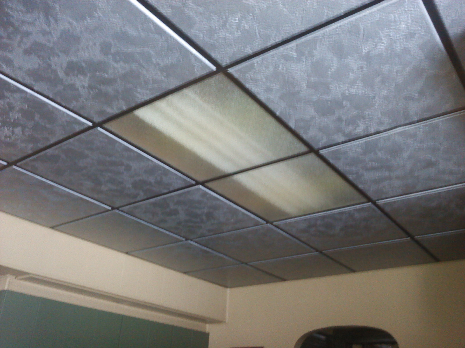 Painted drop ceiling tiles