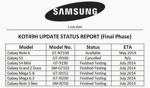 samsung kot49h update