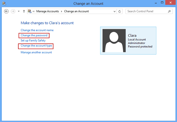 User password set a new password twice for useraccount password