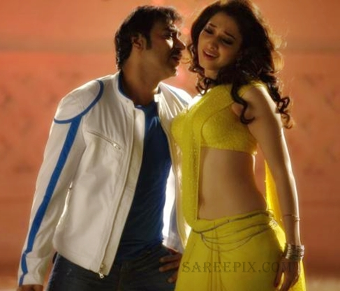 Tamanna-Bhatia-yellow-saree-Ajay-devgan-Himmatwala-movie