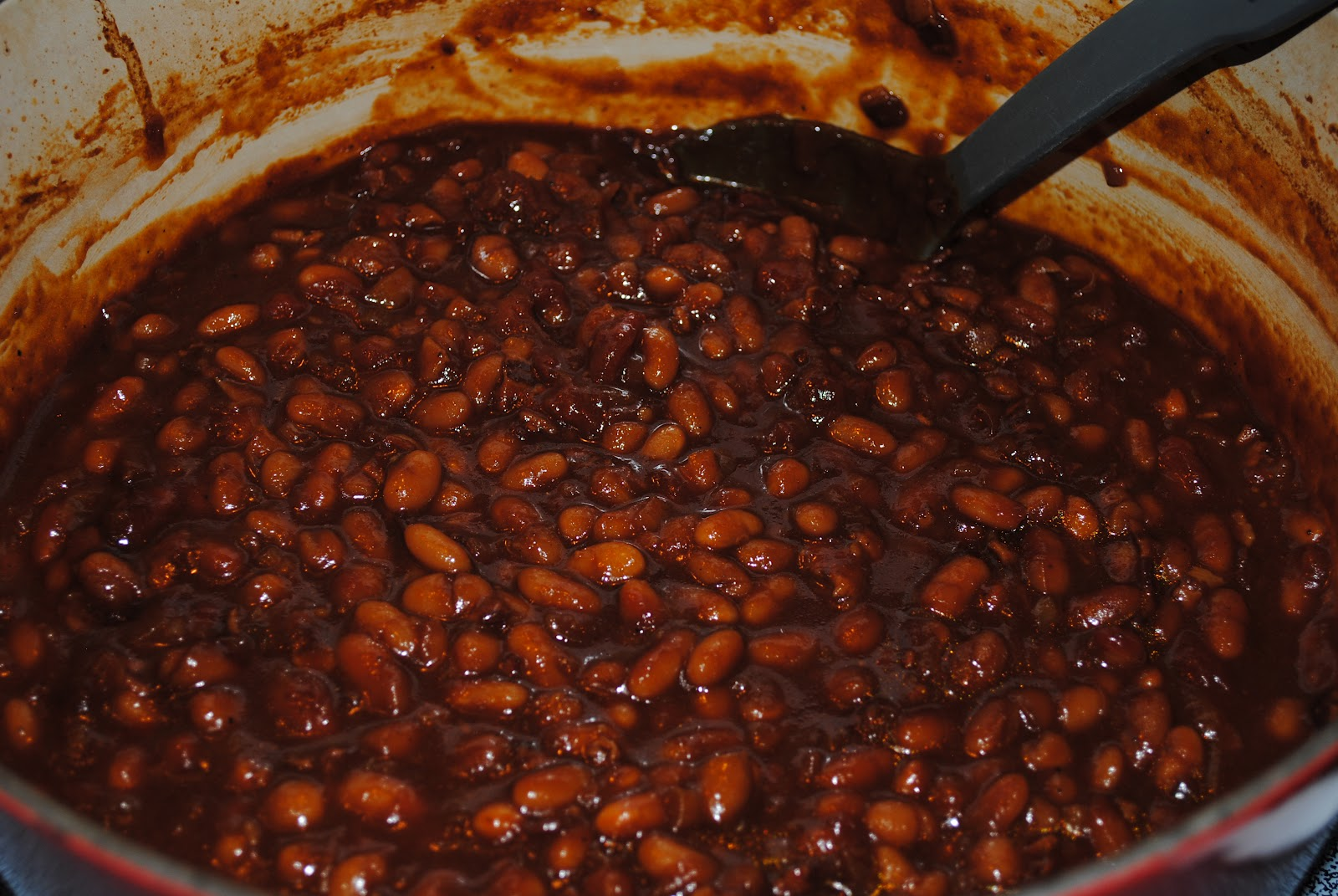 and then I put an egg on it.: Barbecued Baked Beans