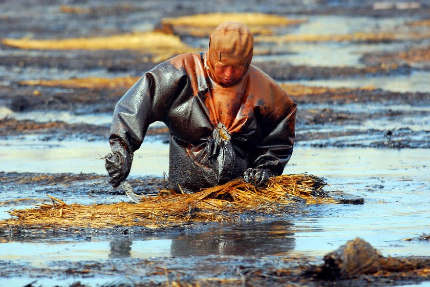 #20 Man Cleans Up Oil Spill In Dalian Port, Liaoning - 22 Heartbreaking Photos Of Pollution That Will Inspire You To Recycle