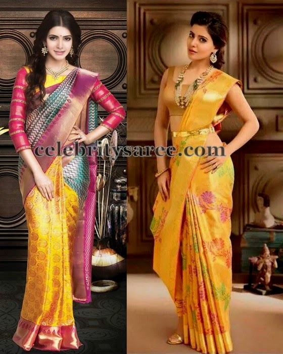 Samantha Latest Mustard Sarees