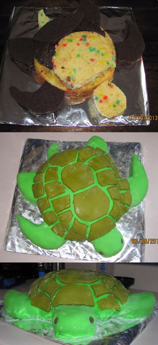 Green sea turtle cake.