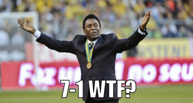 Pelé walks the pitch in disbelief after the game